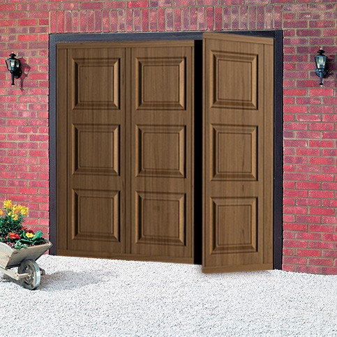 Cardale georgian steel woodgrain side hinged garage door for Side by side garage doors