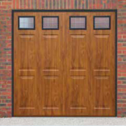 Cardale Sheraton II Glazed Up & Over Golden Oak Garage Door