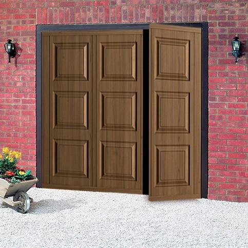 Cardale georgian steel woodgrain side hinged garage door for Garage side door